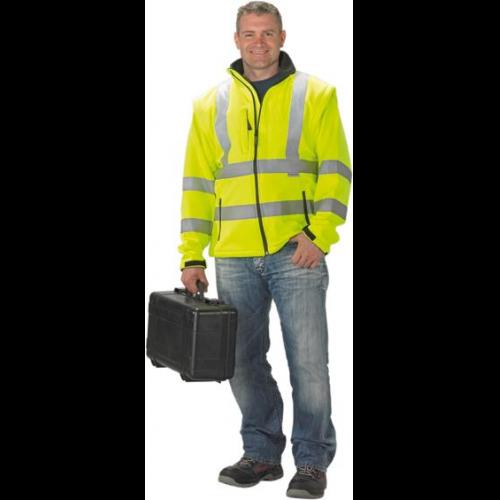XXL Funsport Bekleidung & Schutzausrüstung Softshellwarnjacke Melvin gelb-schwarz Gr